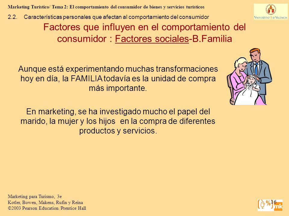 Marketing Turístico/ Tema 2: El comportamiento del consumidor de bienes y servicios turísticos 16 Marketing para Turismo, 3e Kotler, Bowen, Makens, Ru