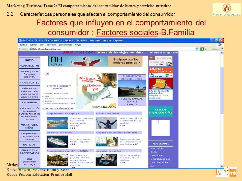 Marketing Turístico/ Tema 2: El comportamiento del consumidor de bienes y servicios turísticos 17 Marketing para Turismo, 3e Kotler, Bowen, Makens, Ru