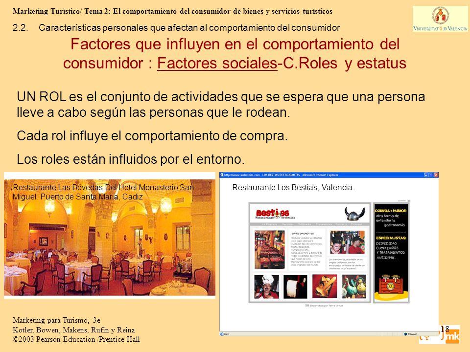 Marketing Turístico/ Tema 2: El comportamiento del consumidor de bienes y servicios turísticos 18 Marketing para Turismo, 3e Kotler, Bowen, Makens, Ru