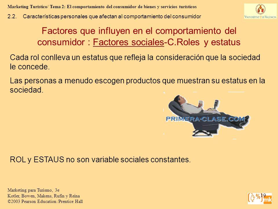 Marketing Turístico/ Tema 2: El comportamiento del consumidor de bienes y servicios turísticos 19 Marketing para Turismo, 3e Kotler, Bowen, Makens, Ru