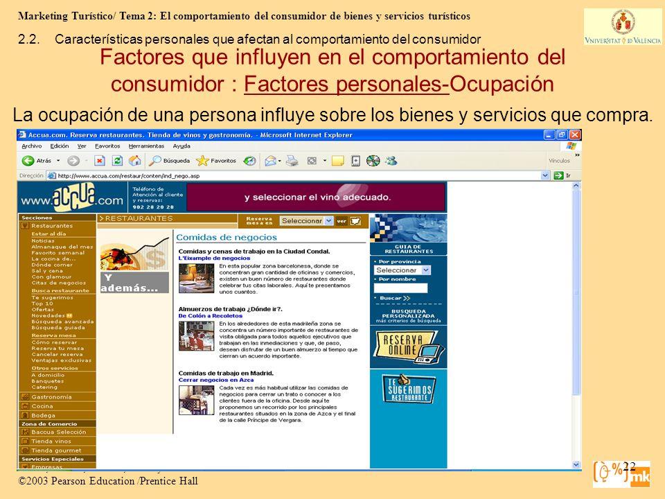 Marketing Turístico/ Tema 2: El comportamiento del consumidor de bienes y servicios turísticos 22 Marketing para Turismo, 3e Kotler, Bowen, Makens, Ru