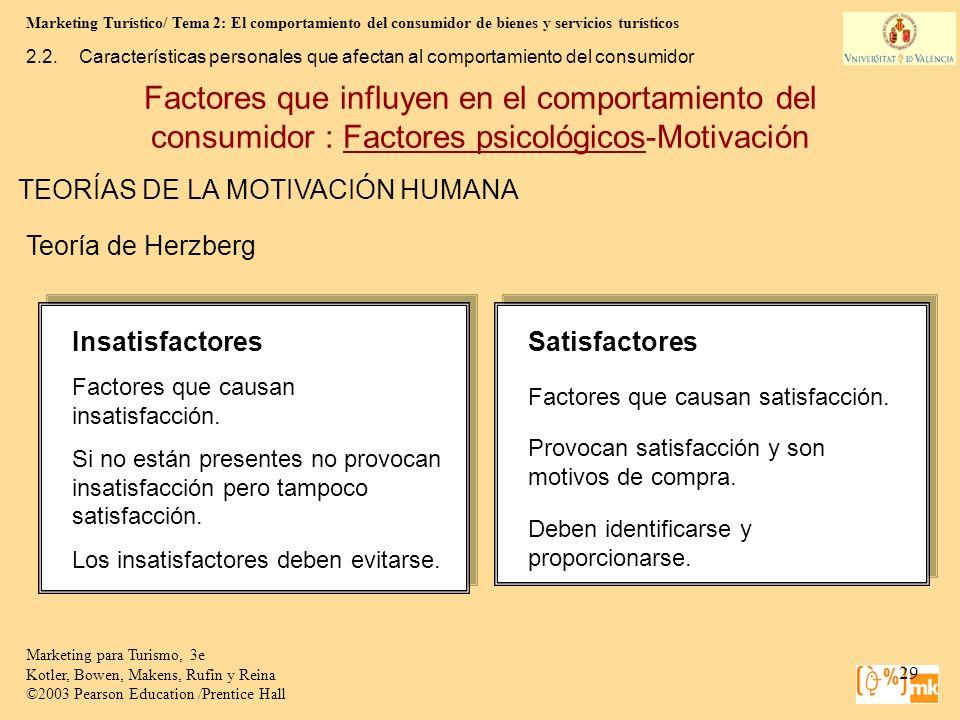 Marketing Turístico/ Tema 2: El comportamiento del consumidor de bienes y servicios turísticos 29 Marketing para Turismo, 3e Kotler, Bowen, Makens, Ru