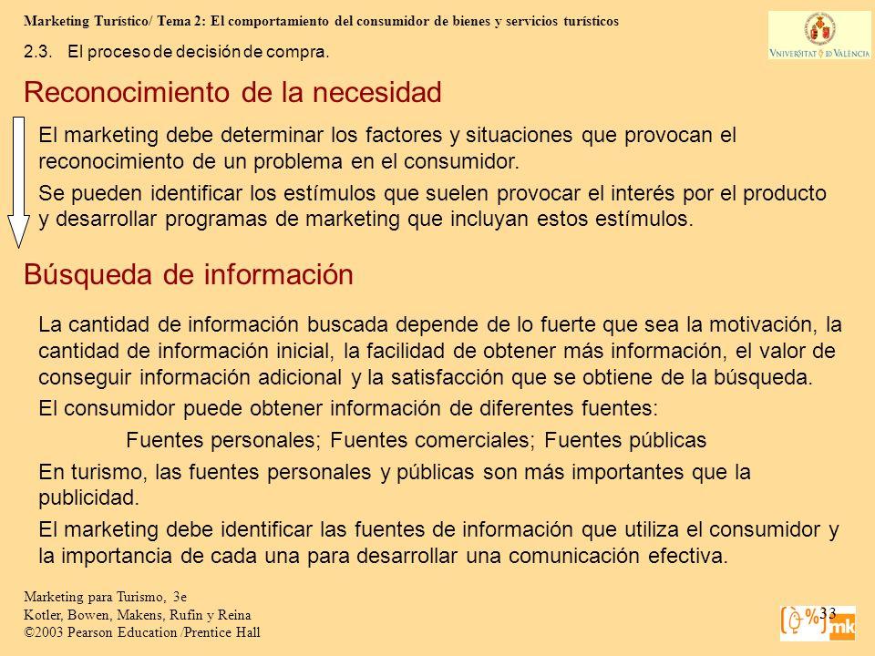 Marketing Turístico/ Tema 2: El comportamiento del consumidor de bienes y servicios turísticos 33 Marketing para Turismo, 3e Kotler, Bowen, Makens, Ru