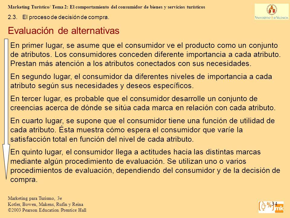 Marketing Turístico/ Tema 2: El comportamiento del consumidor de bienes y servicios turísticos 34 Marketing para Turismo, 3e Kotler, Bowen, Makens, Ru