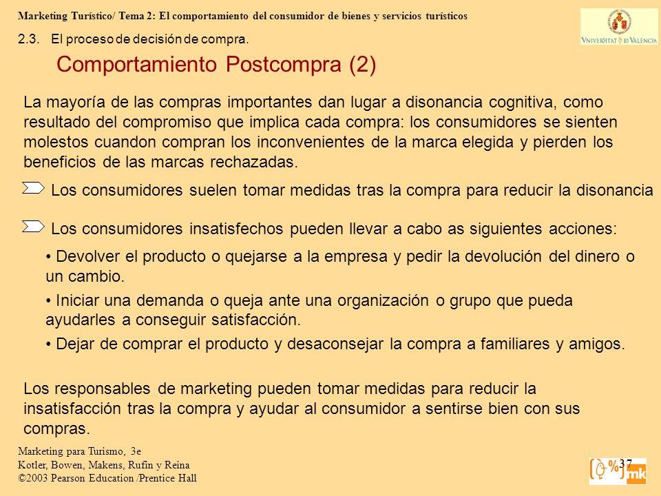 Marketing Turístico/ Tema 2: El comportamiento del consumidor de bienes y servicios turísticos 37 Marketing para Turismo, 3e Kotler, Bowen, Makens, Ru