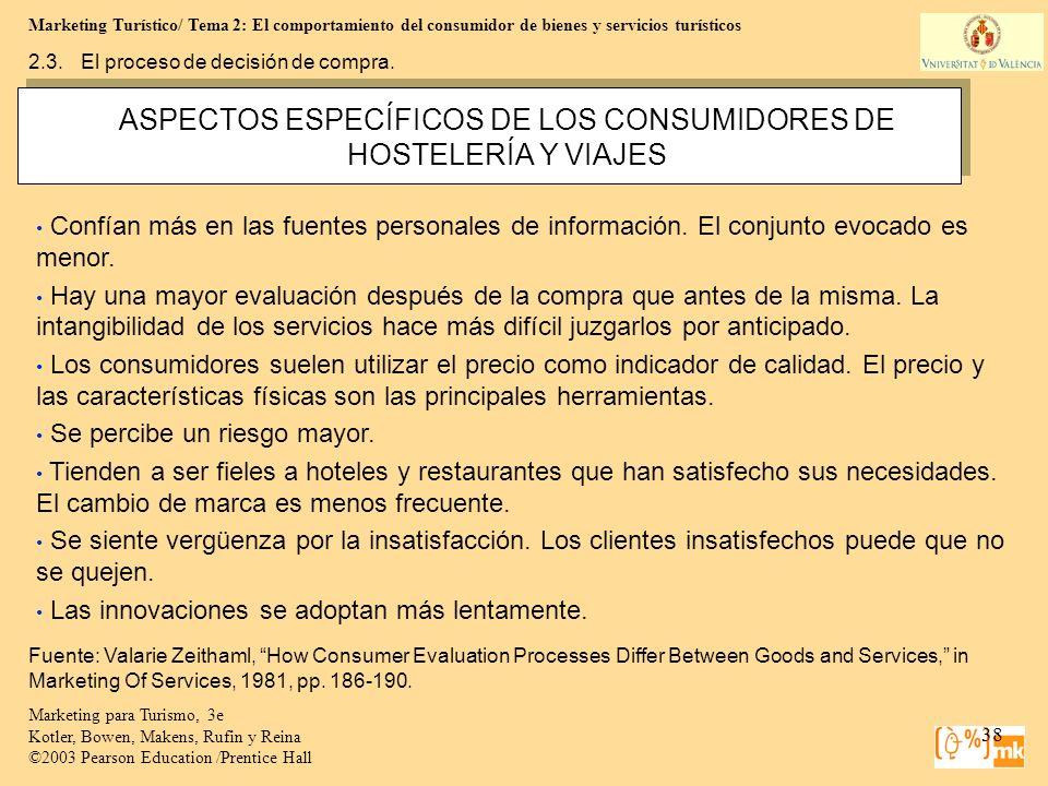 Marketing Turístico/ Tema 2: El comportamiento del consumidor de bienes y servicios turísticos 38 Marketing para Turismo, 3e Kotler, Bowen, Makens, Ru