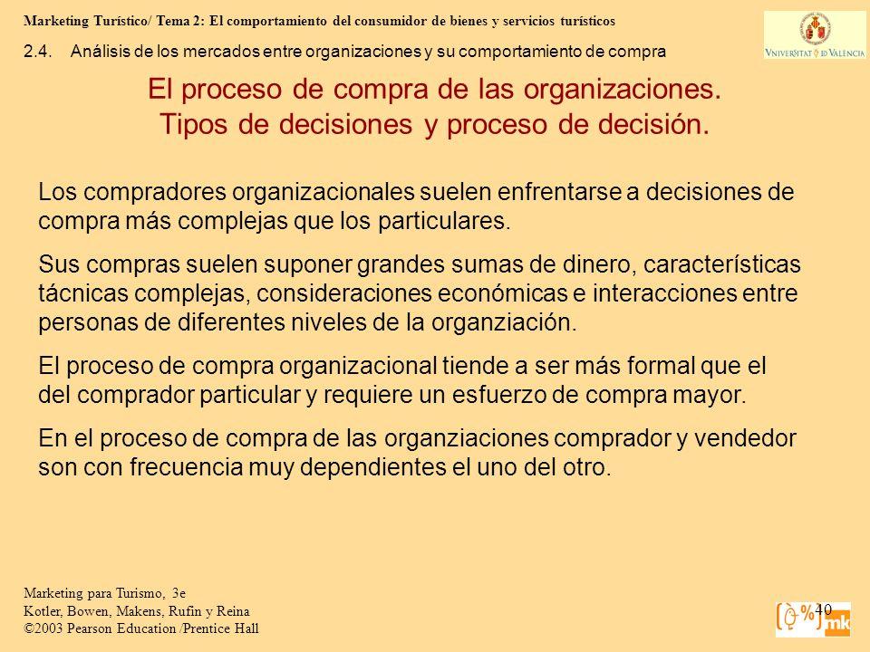 Marketing Turístico/ Tema 2: El comportamiento del consumidor de bienes y servicios turísticos 40 Marketing para Turismo, 3e Kotler, Bowen, Makens, Ru