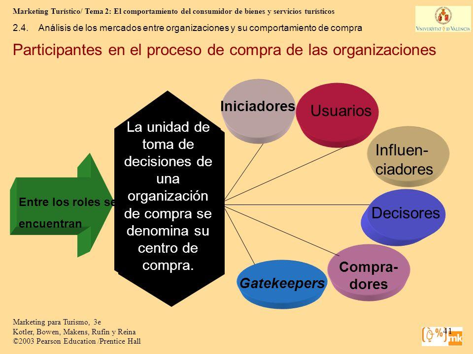 Marketing Turístico/ Tema 2: El comportamiento del consumidor de bienes y servicios turísticos 41 Marketing para Turismo, 3e Kotler, Bowen, Makens, Ru