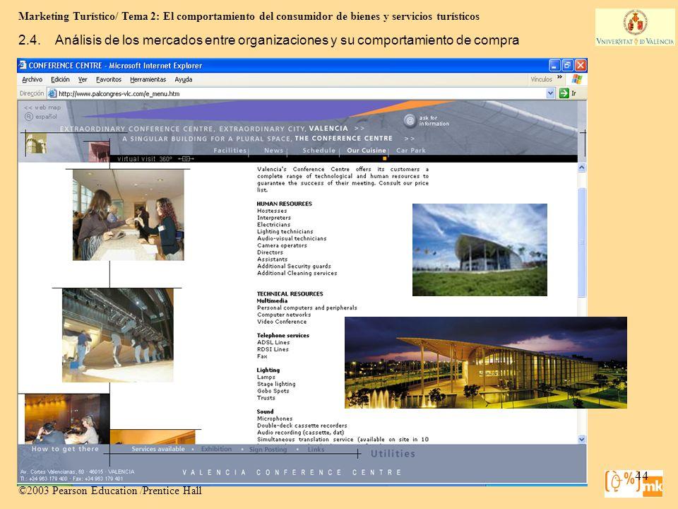 Marketing Turístico/ Tema 2: El comportamiento del consumidor de bienes y servicios turísticos 44 Marketing para Turismo, 3e Kotler, Bowen, Makens, Ru
