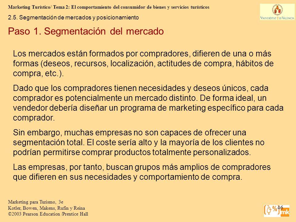 Marketing Turístico/ Tema 2: El comportamiento del consumidor de bienes y servicios turísticos 46 Marketing para Turismo, 3e Kotler, Bowen, Makens, Ru
