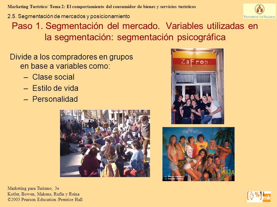Marketing Turístico/ Tema 2: El comportamiento del consumidor de bienes y servicios turísticos 51 Marketing para Turismo, 3e Kotler, Bowen, Makens, Ru