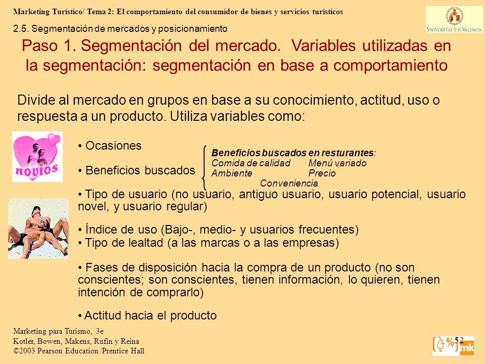 Marketing Turístico/ Tema 2: El comportamiento del consumidor de bienes y servicios turísticos 52 Marketing para Turismo, 3e Kotler, Bowen, Makens, Ru