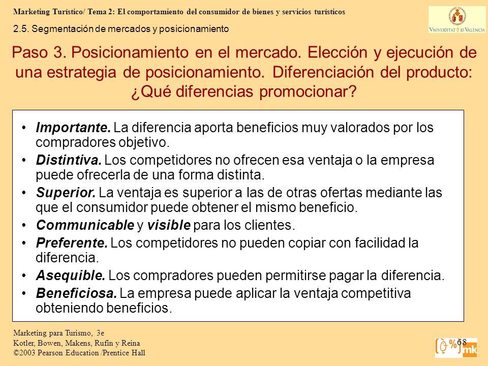 Marketing Turístico/ Tema 2: El comportamiento del consumidor de bienes y servicios turísticos 68 Marketing para Turismo, 3e Kotler, Bowen, Makens, Ru