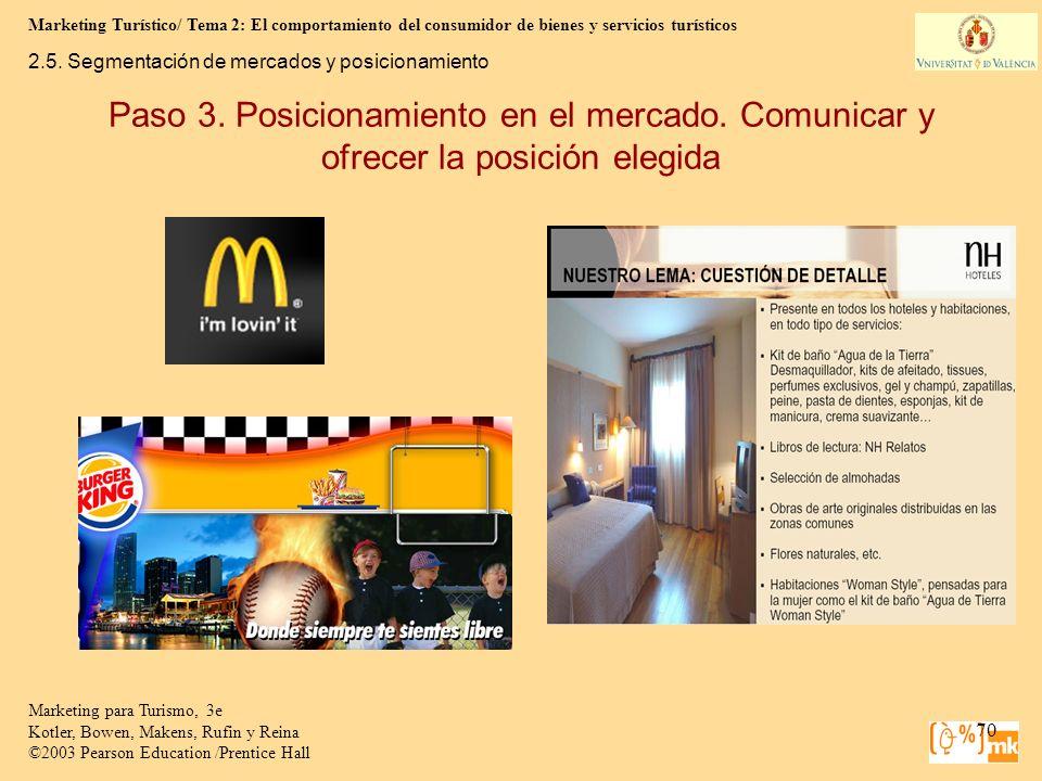 Marketing Turístico/ Tema 2: El comportamiento del consumidor de bienes y servicios turísticos 70 Marketing para Turismo, 3e Kotler, Bowen, Makens, Ru