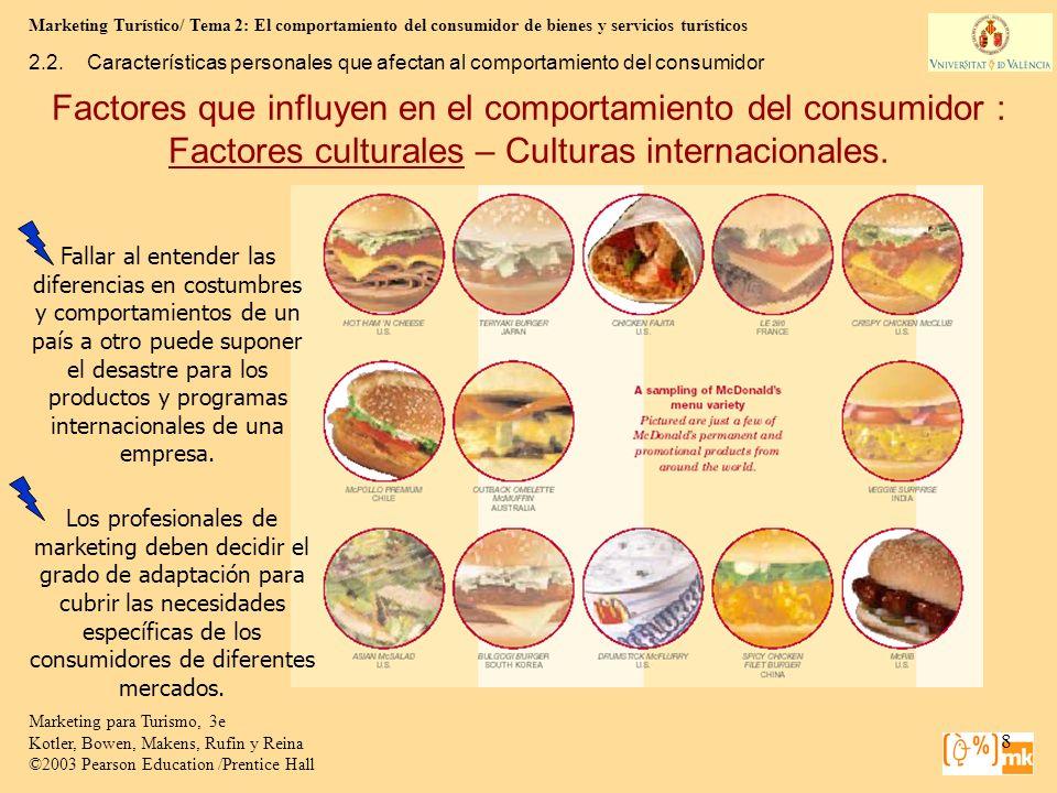 Marketing Turístico/ Tema 2: El comportamiento del consumidor de bienes y servicios turísticos 39 Marketing para Turismo, 3e Kotler, Bowen, Makens, Rufin y Reina ©2003 Pearson Education /Prentice Hall 2.4.