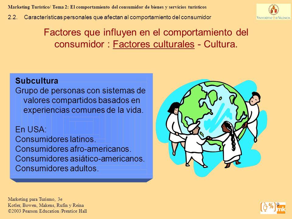 Marketing Turístico/ Tema 2: El comportamiento del consumidor de bienes y servicios turísticos 20 Marketing para Turismo, 3e Kotler, Bowen, Makens, Rufin y Reina ©2003 Pearson Education /Prentice Hall 2.2.