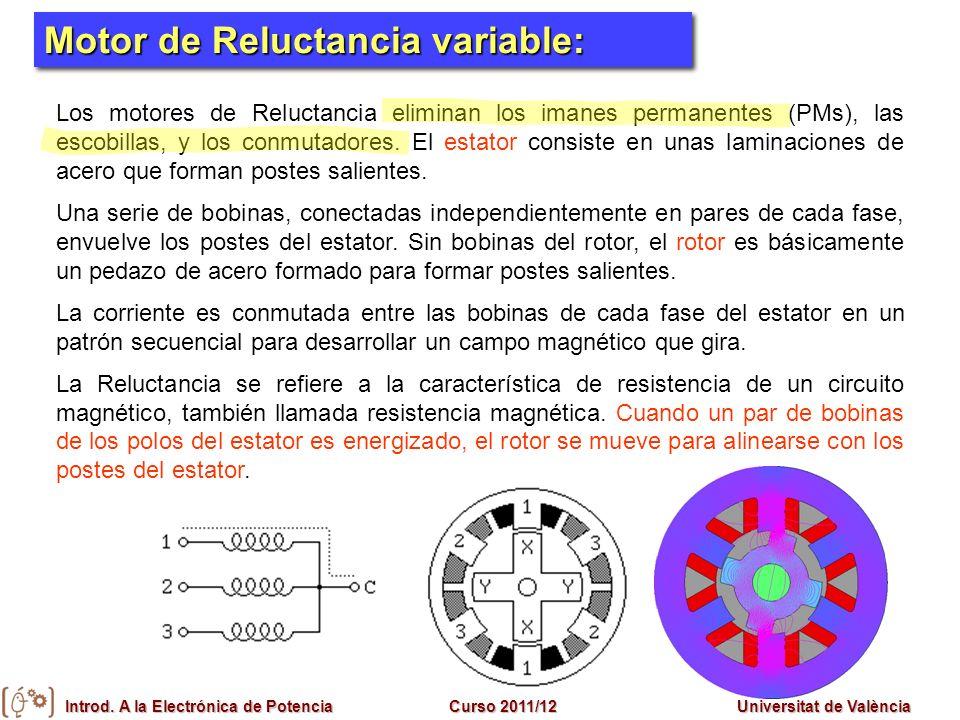 Introd. A la Electrónica de PotenciaCurso 2011/12Universitat de València Motores Síncronos Motor de Reluctancia variable: Los motores de Reluctancia e