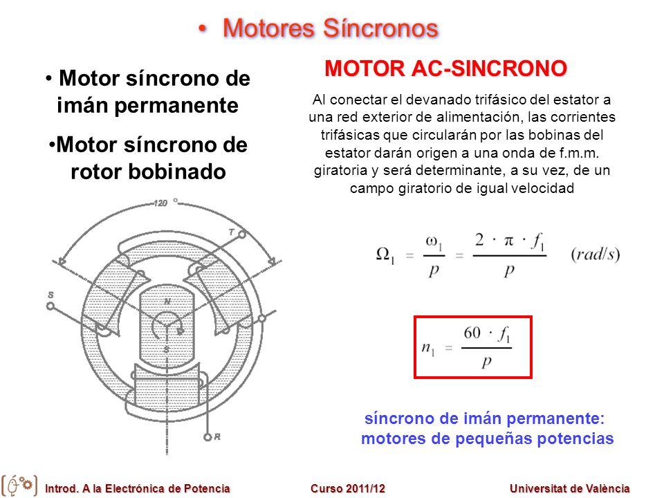 Introd. A la Electrónica de PotenciaCurso 2011/12Universitat de València Motores Síncronos Motor síncrono de imán permanente Motor síncrono de rotor b