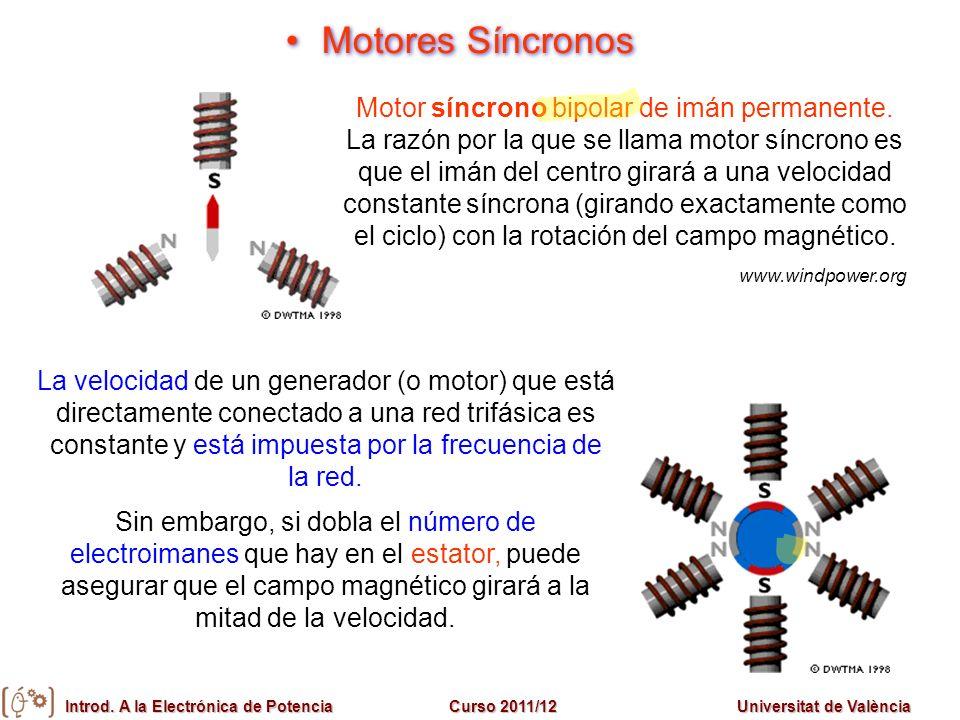 Introd. A la Electrónica de PotenciaCurso 2011/12Universitat de València Motores Síncronos Motor síncrono bipolar de imán permanente. La razón por la