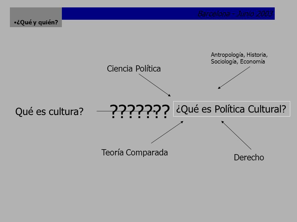 Barcelona - Junio 2003 ¿Qué y quién.¿Sujetos de la política cultural.