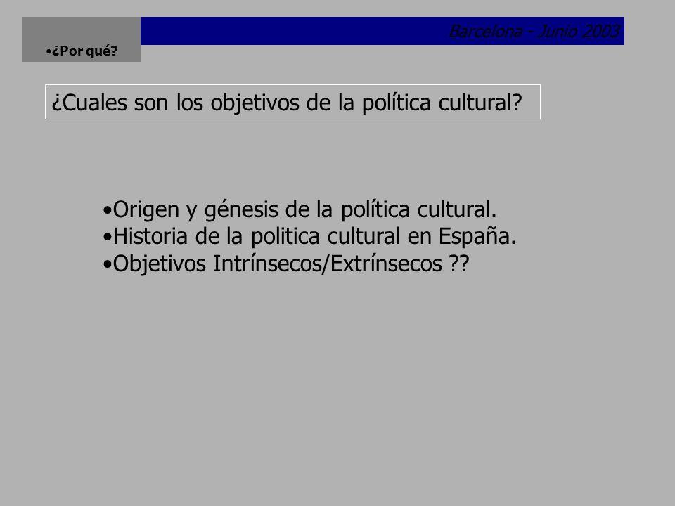 Barcelona - Junio 2003 ¿Por qué.¿Cuales son los objetivos de la política cultural.