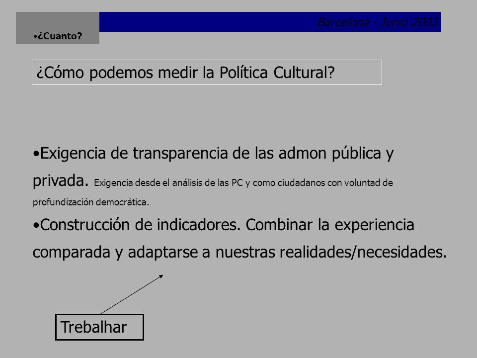 Barcelona - Junio 2003 ¿Cuanto.¿Cómo podemos medir la Política Cultural.