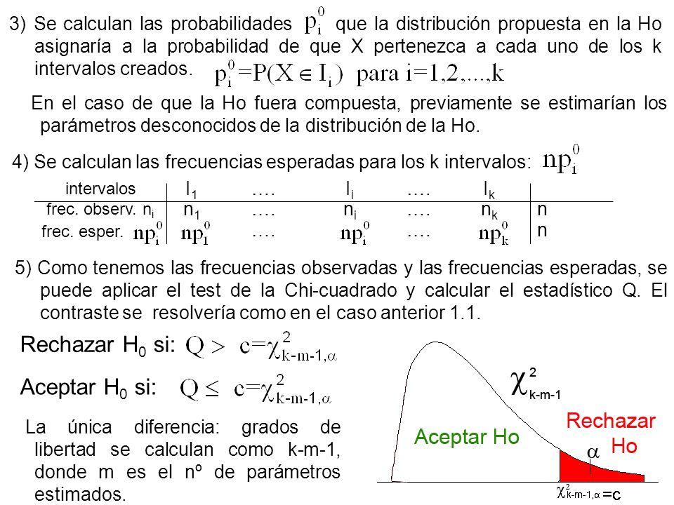 7 3) Se calculan las probabilidades que la distribución propuesta en la Ho asignaría a la probabilidad de que X pertenezca a cada uno de los k interva