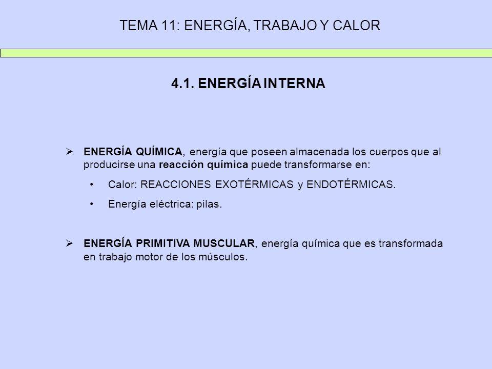 TEMA 11: ENERGÍA, TRABAJO Y CALOR 4.1. ENERGÍA INTERNA ENERGÍA QUÍMICA, energía que poseen almacenada los cuerpos que al producirse una reacción quími