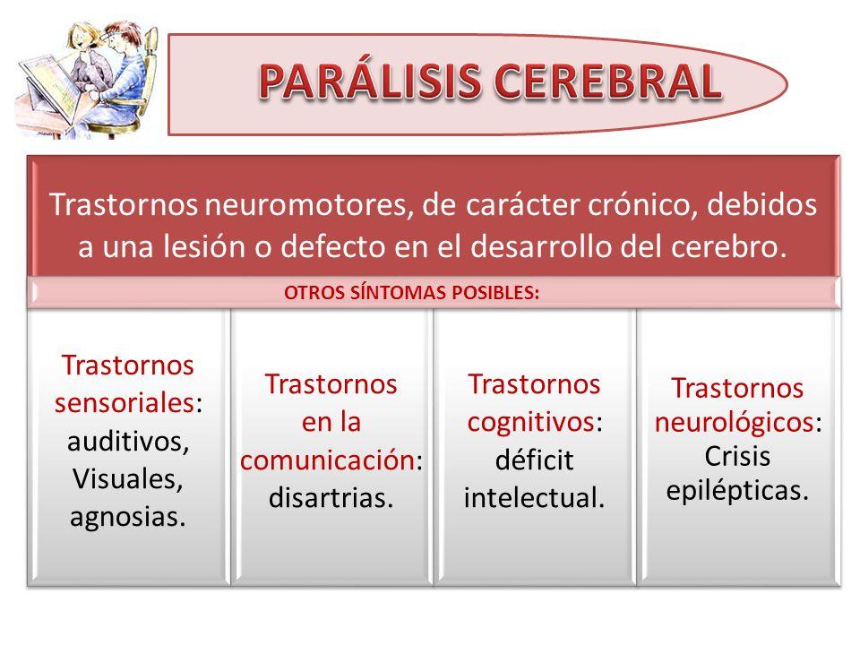 Trastornos neuromotores, de carácter crónico, debidos a una lesión o defecto en el desarrollo del cerebro. Trastornos sensoriales: auditivos, Visuales