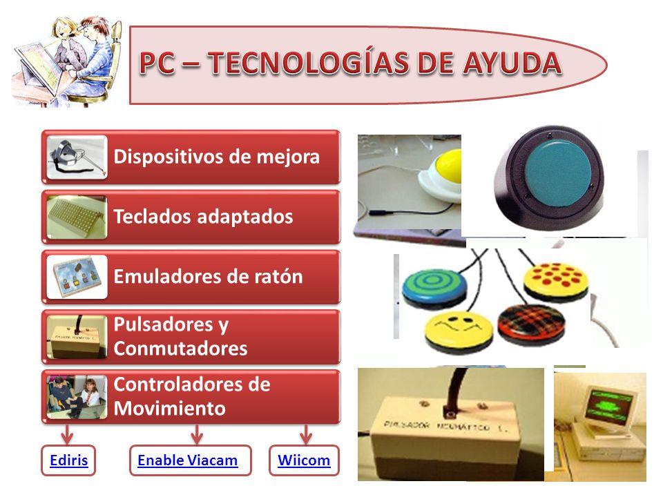 Dispositivos de mejora Teclados adaptados Emuladores de ratón Pulsadores y Conmutadores Controladores de Movimiento Control del ordenador Software ada