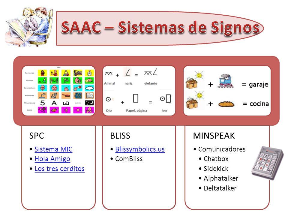 SPC Sistema MIC Hola Amigo Los tres cerditos BLISS Blissymbolics.us ComBliss MINSPEAK Comunicadores Chatbox Sidekick Alphatalker Deltatalker