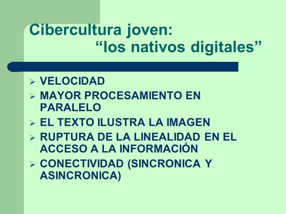Cibercultura joven: los nativos digitales VELOCIDAD MAYOR PROCESAMIENTO EN PARALELO EL TEXTO ILUSTRA LA IMAGEN RUPTURA DE LA LINEALIDAD EN EL ACCESO A LA INFORMACIÓN CONECTIVIDAD (SINCRONICA Y ASINCRONICA)