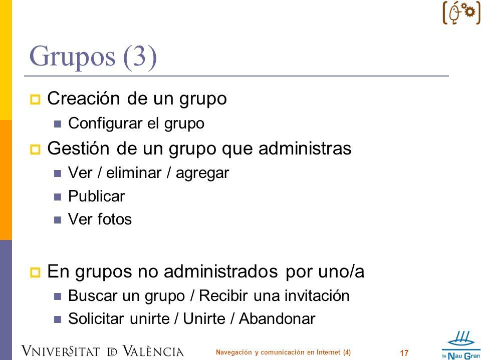 Grupos (3) Creación de un grupo Configurar el grupo Gestión de un grupo que administras Ver / eliminar / agregar Publicar Ver fotos En grupos no admin