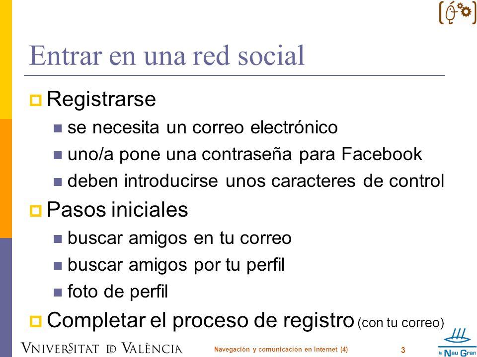 Entrar en una red social Registrarse se necesita un correo electrónico uno/a pone una contraseña para Facebook deben introducirse unos caracteres de c