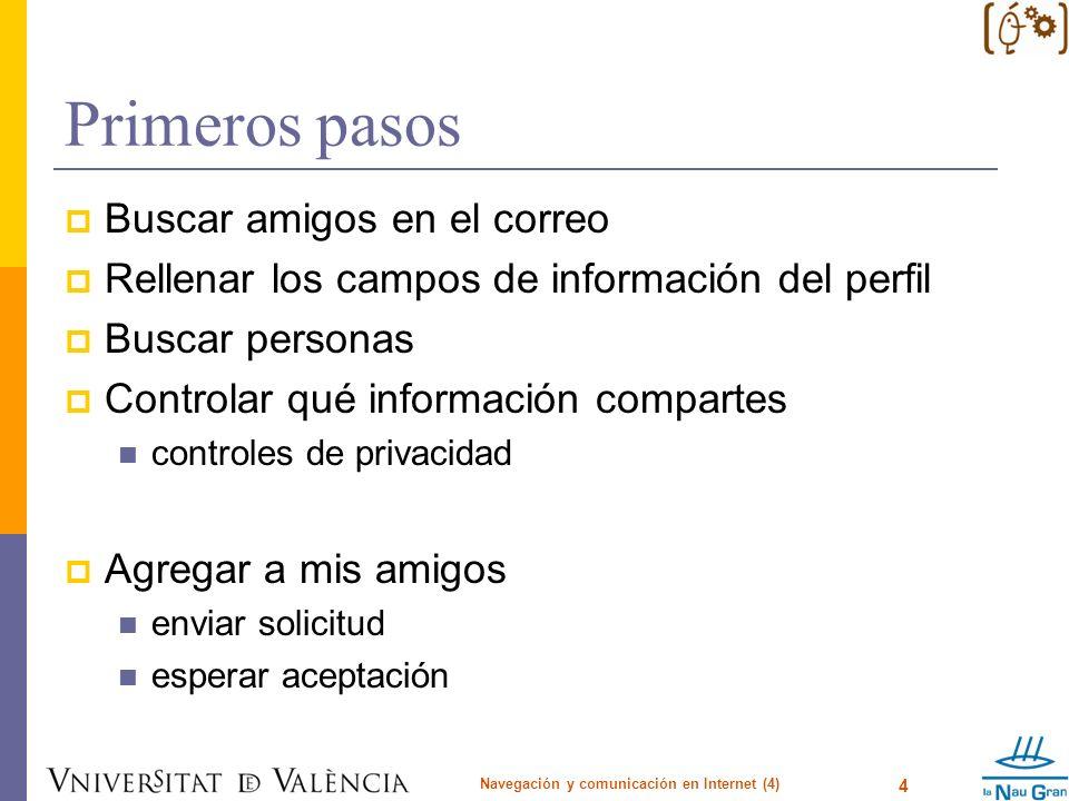 Primeros pasos Buscar amigos en el correo Rellenar los campos de información del perfil Buscar personas Controlar qué información compartes controles