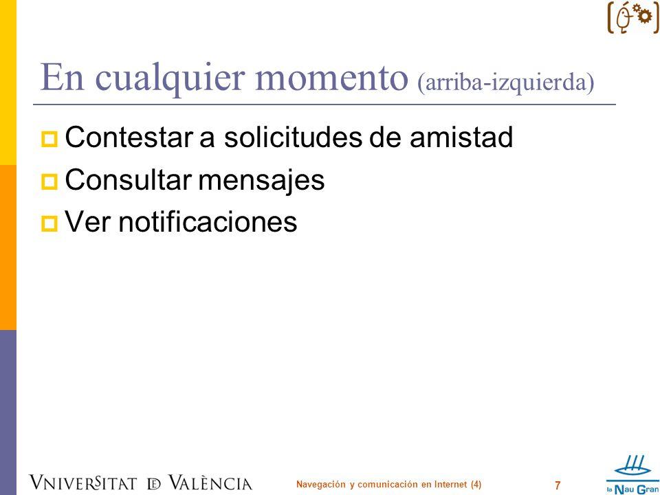 En cualquier momento (arriba-izquierda) Contestar a solicitudes de amistad Consultar mensajes Ver notificaciones Navegación y comunicación en Internet