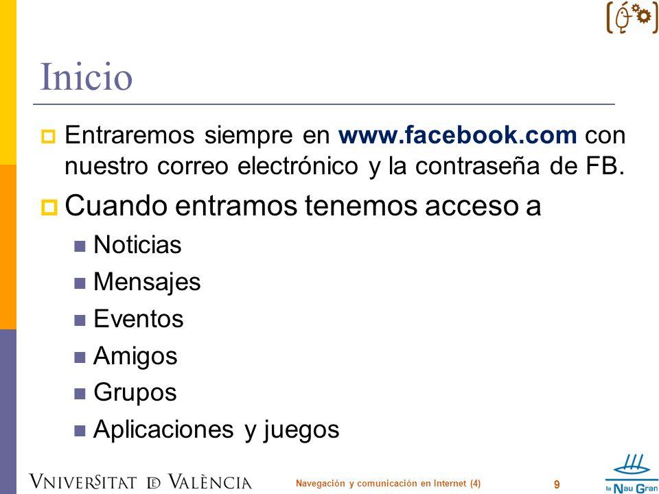 Inicio Entraremos siempre en www.facebook.com con nuestro correo electrónico y la contraseña de FB. Cuando entramos tenemos acceso a Noticias Mensajes