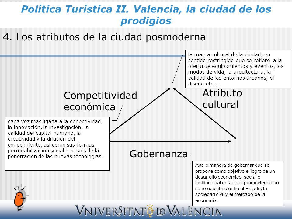 4. Los atributos de la ciudad posmoderna Competitividad económica Atributo cultural Gobernanza cada vez más ligada a la conectividad, la innovación, l