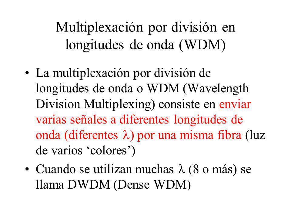 La multiplexación por división de longitudes de onda o WDM (Wavelength Division Multiplexing) consiste en enviar varias señales a diferentes longitude