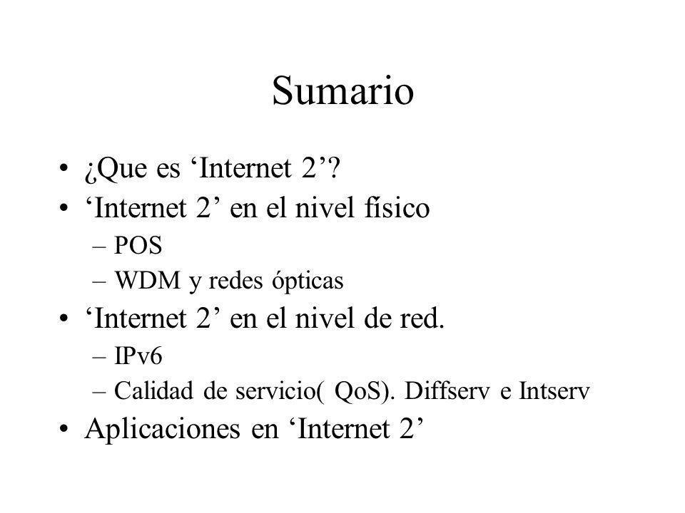 Sumario ¿Que es Internet 2? Internet 2 en el nivel físico –POS –WDM y redes ópticas Internet 2 en el nivel de red. –IPv6 –Calidad de servicio( QoS). D