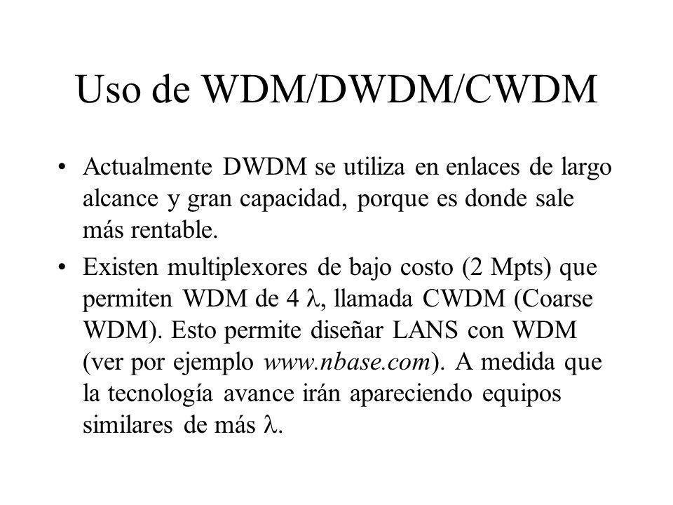 Uso de WDM/DWDM/CWDM Actualmente DWDM se utiliza en enlaces de largo alcance y gran capacidad, porque es donde sale más rentable. Existen multiplexore