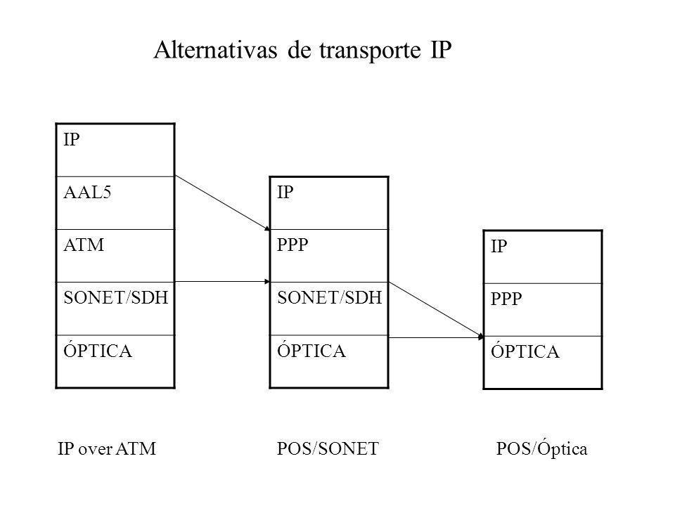 IP AAL5 ATM SONET/SDH ÓPTICA IP over ATMPOS/SONETPOS/Óptica IP PPP SONET/SDH ÓPTICA IP PPP ÓPTICA Alternativas de transporte IP