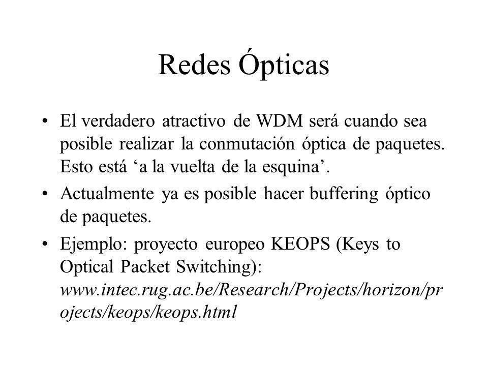 Redes Ópticas El verdadero atractivo de WDM será cuando sea posible realizar la conmutación óptica de paquetes. Esto está a la vuelta de la esquina. A