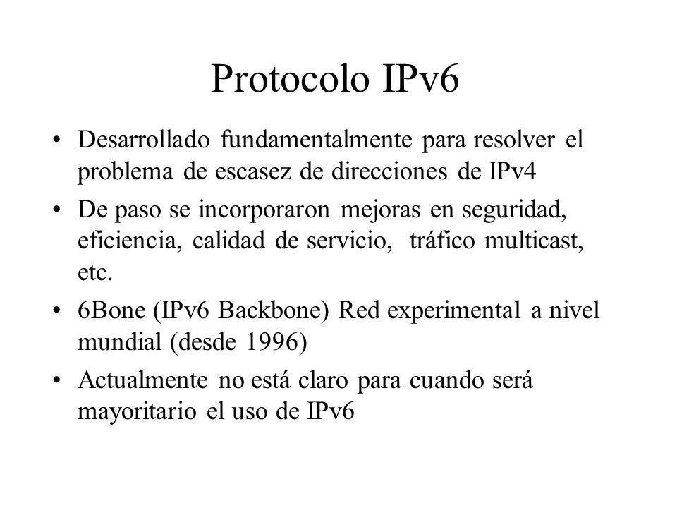 Protocolo IPv6 Desarrollado fundamentalmente para resolver el problema de escasez de direcciones de IPv4 De paso se incorporaron mejoras en seguridad,