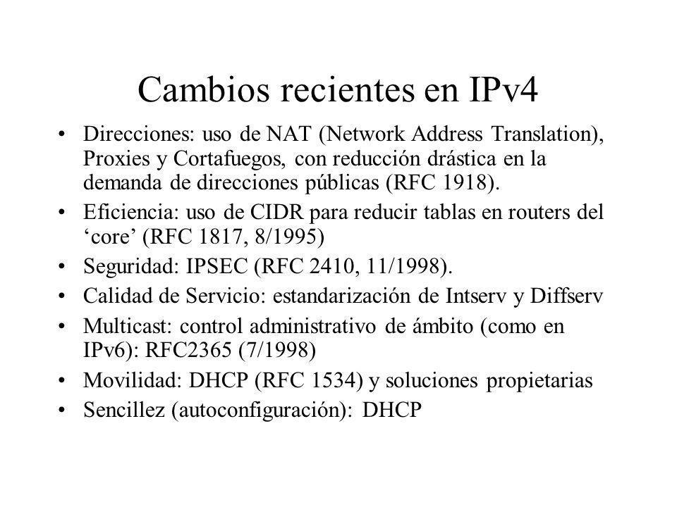 Cambios recientes en IPv4 Direcciones: uso de NAT (Network Address Translation), Proxies y Cortafuegos, con reducción drástica en la demanda de direcc