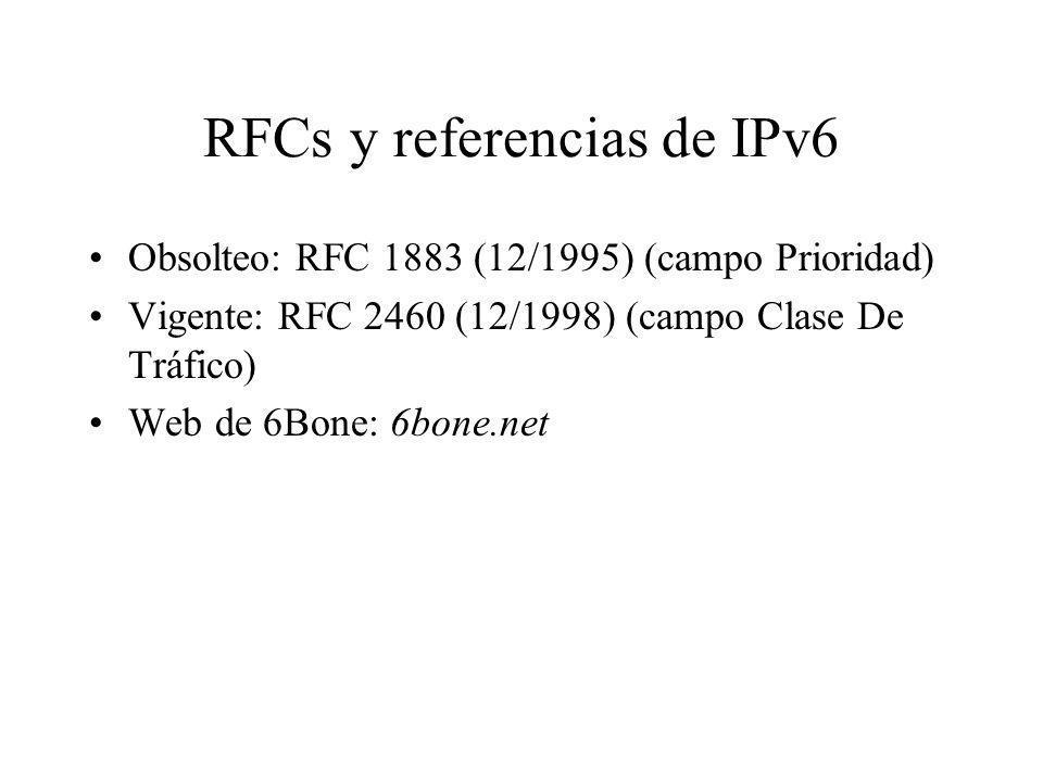 RFCs y referencias de IPv6 Obsolteo: RFC 1883 (12/1995) (campo Prioridad) Vigente: RFC 2460 (12/1998) (campo Clase De Tráfico) Web de 6Bone: 6bone.net