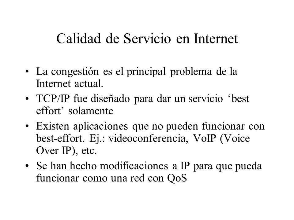 Calidad de Servicio en Internet La congestión es el principal problema de la Internet actual. TCP/IP fue diseñado para dar un servicio best effort sol