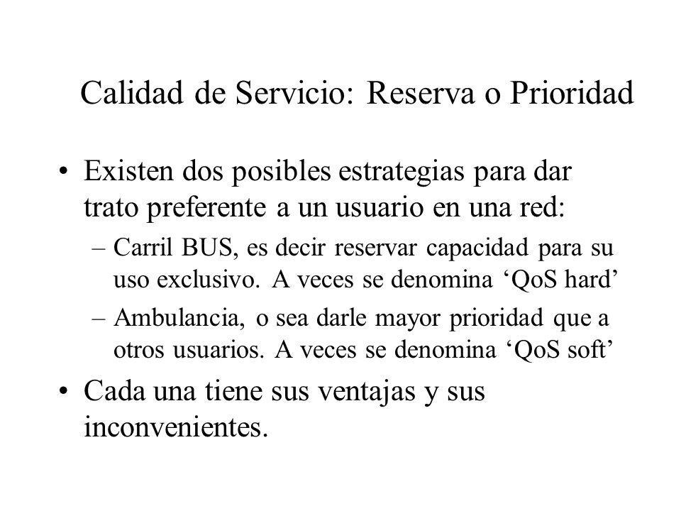 Calidad de Servicio: Reserva o Prioridad Existen dos posibles estrategias para dar trato preferente a un usuario en una red: –Carril BUS, es decir res