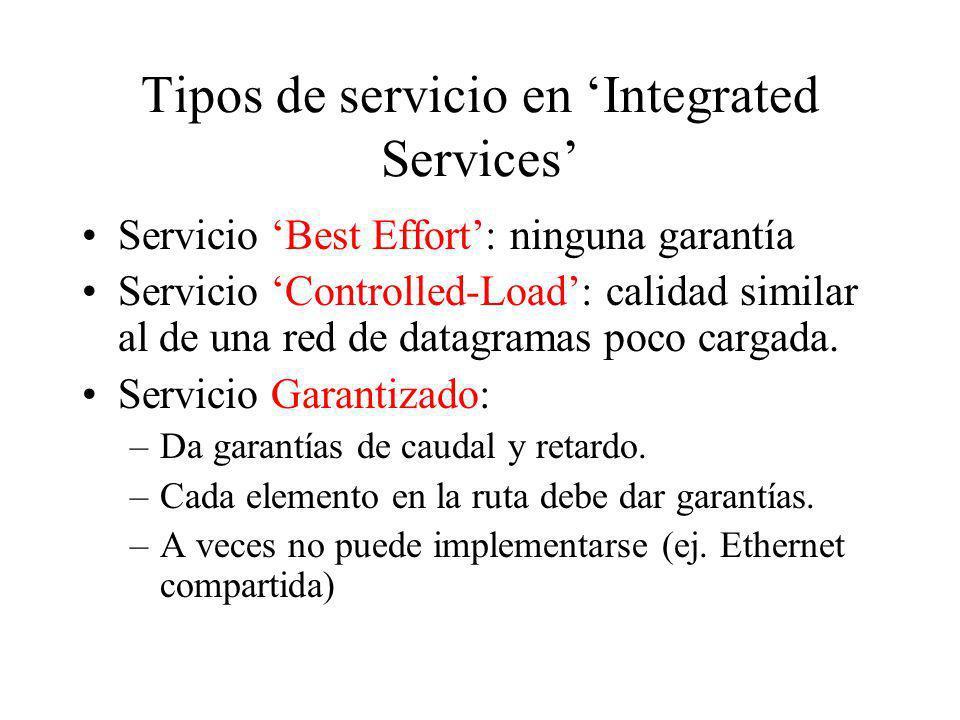 Tipos de servicio en Integrated Services Servicio Best Effort: ninguna garantía Servicio Controlled-Load: calidad similar al de una red de datagramas