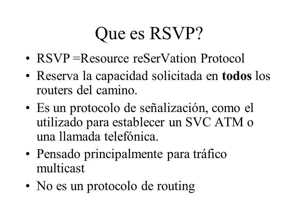Que es RSVP? RSVP =Resource reSerVation Protocol Reserva la capacidad solicitada en todos los routers del camino. Es un protocolo de señalización, com